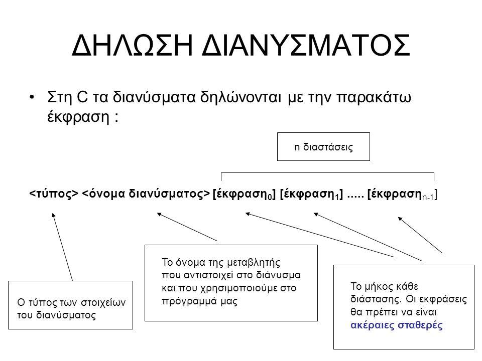 ΔΗΛΩΣΗ ΔΙΑΝΥΣΜΑΤΟΣ Στη C τα διανύσματα δηλώνονται με την παρακάτω έκφραση : <τύπος> <όνομα διανύσματος> [έκφραση0] [έκφραση1] ..... [έκφρασηn-1]